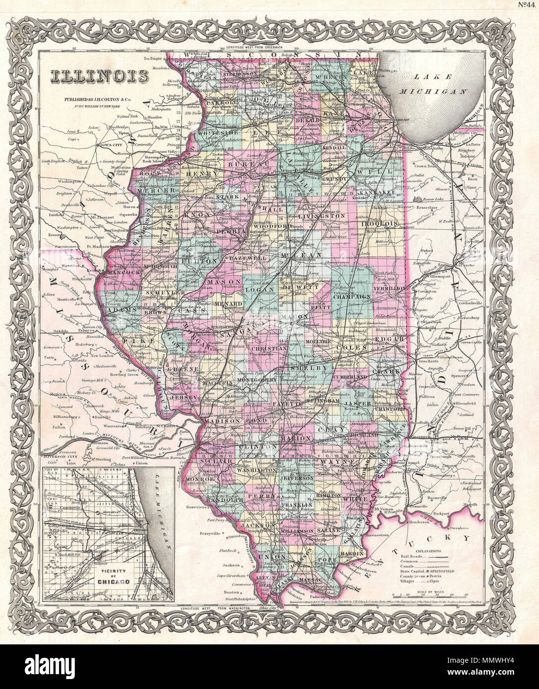 English: This is the 1855 issue of J. H. Colton\'s map of ...