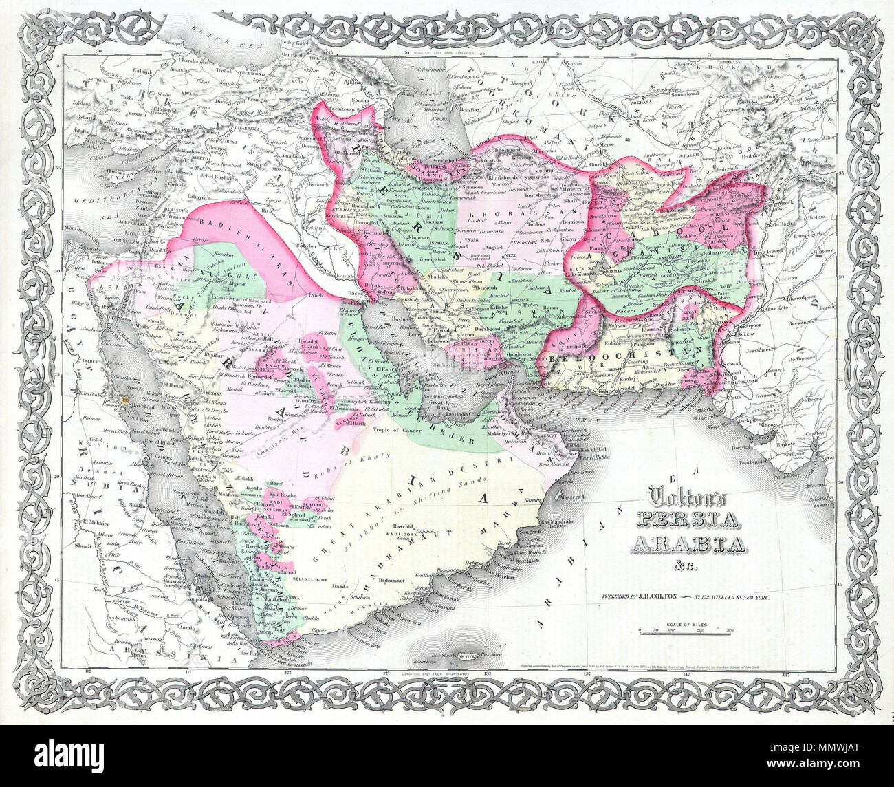 English Map Of Persia And Arabia From J H Colton S 1855 Atlas Of