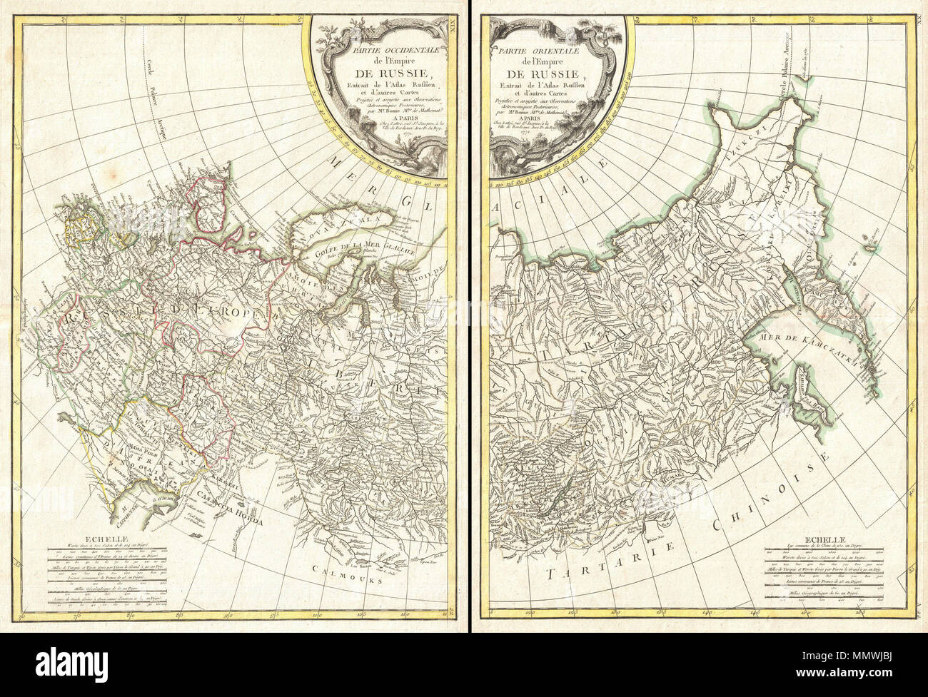 .  English: A beautiful example of Rigobert Bonne's 1771 decorative map of Russia. On two sheets, covers from the Baltic Sea to Siberia and the Bering Straits, extends south as far as the Caspian Sea, Sakhalin and Kamchatka, extends north well into the Arctic. Details this fast region and its many complex river systems and mountains ranges. European Russia is divided into various smaller states including Kiev, Woronez, Bielogorod, Moscow, Astrakan, Kasan, etc. The extreme northeast clearly exhibits information gathered by the explorations of Vitus Bering and Tschirikow, especially with regard  Stock Photo