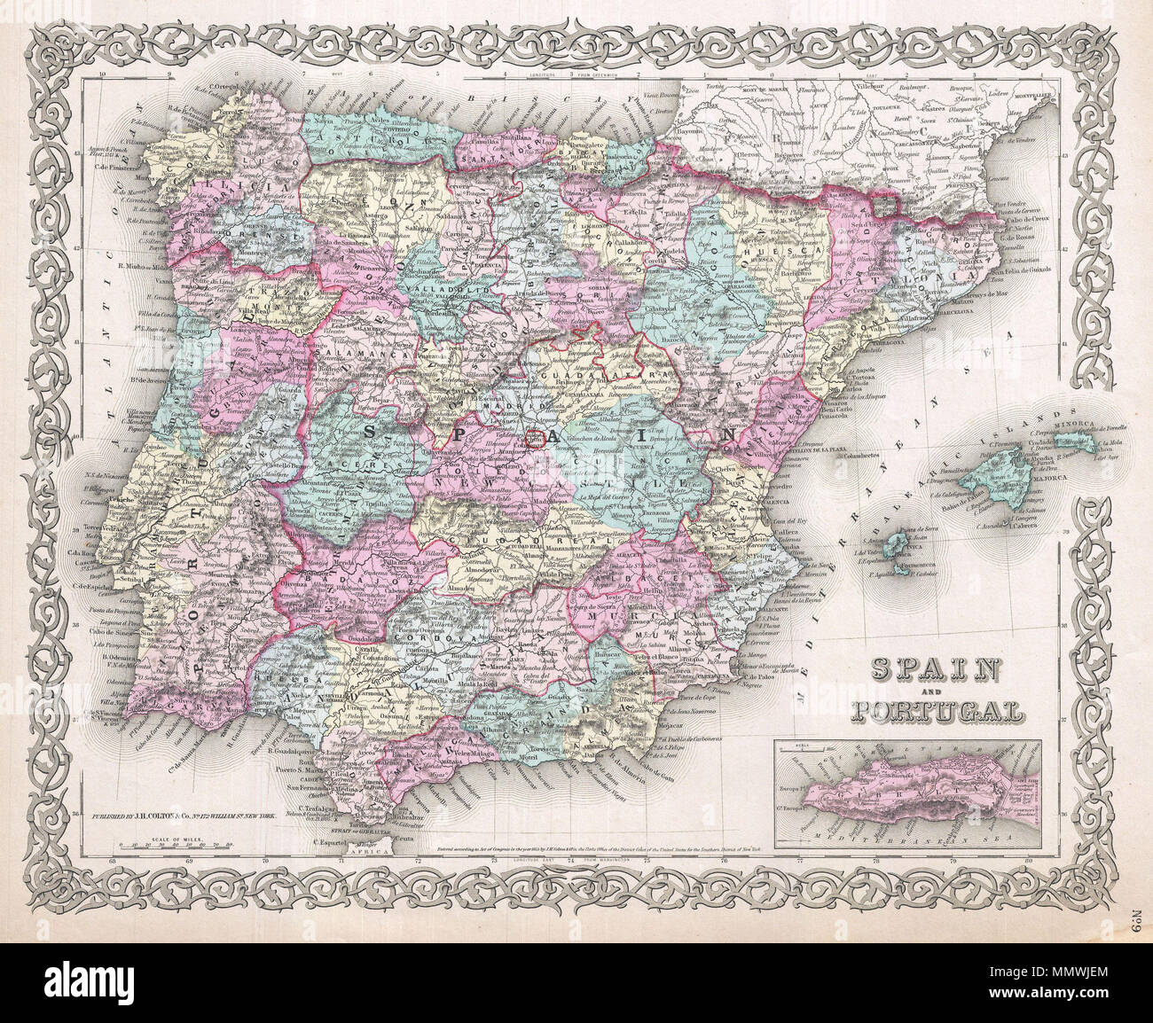 Map Of Spain Rivers.English A Beautiful 1855 First Edition Example Of Colton S Map Of