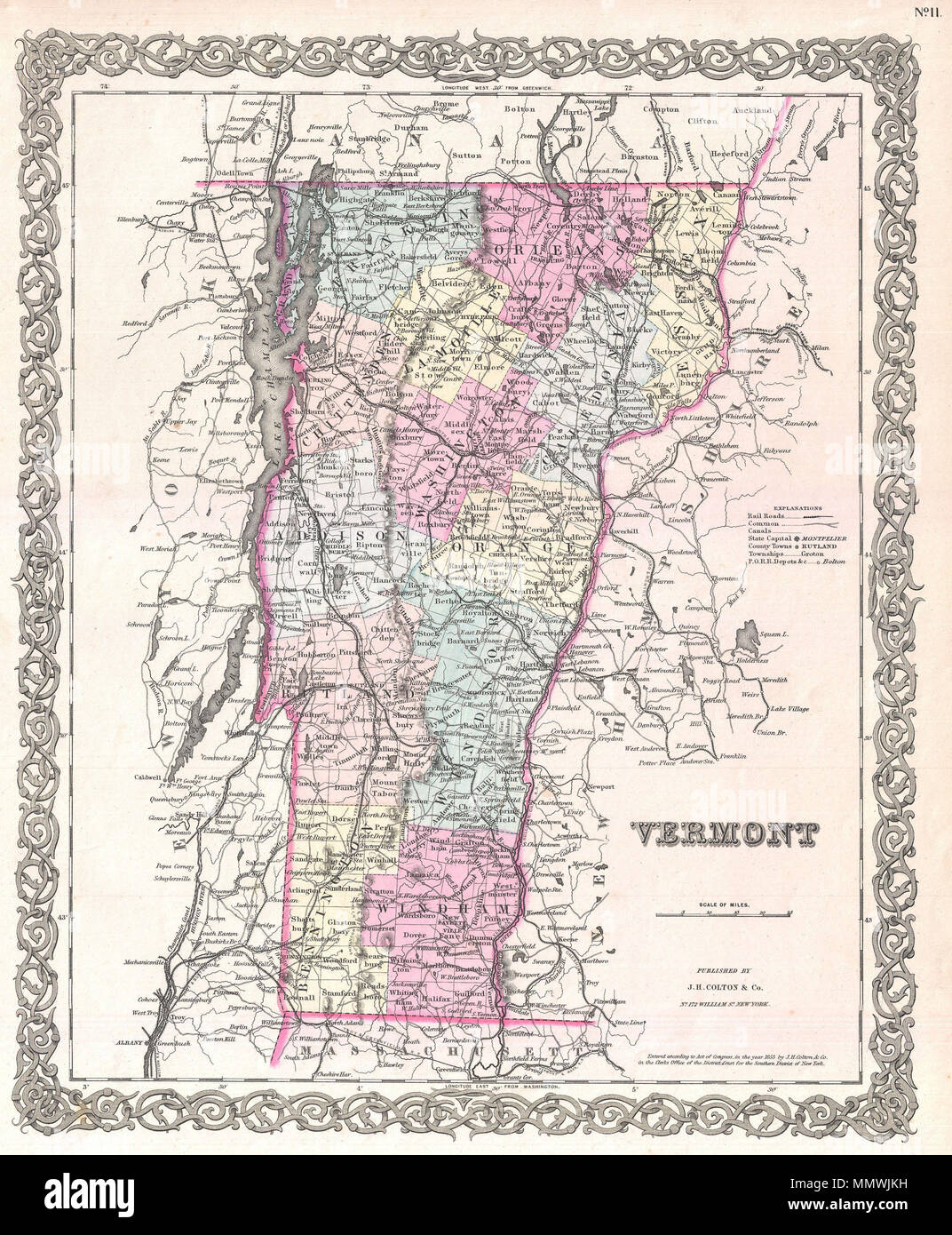 Vermont Canada Map English: A beautiful 1855 first edition example of Colton's map of