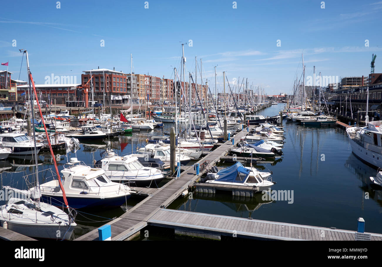 The marina with pleasure crafts and small fisher boats in Scheveningen, The Hague, Netherlands. - Stock Image