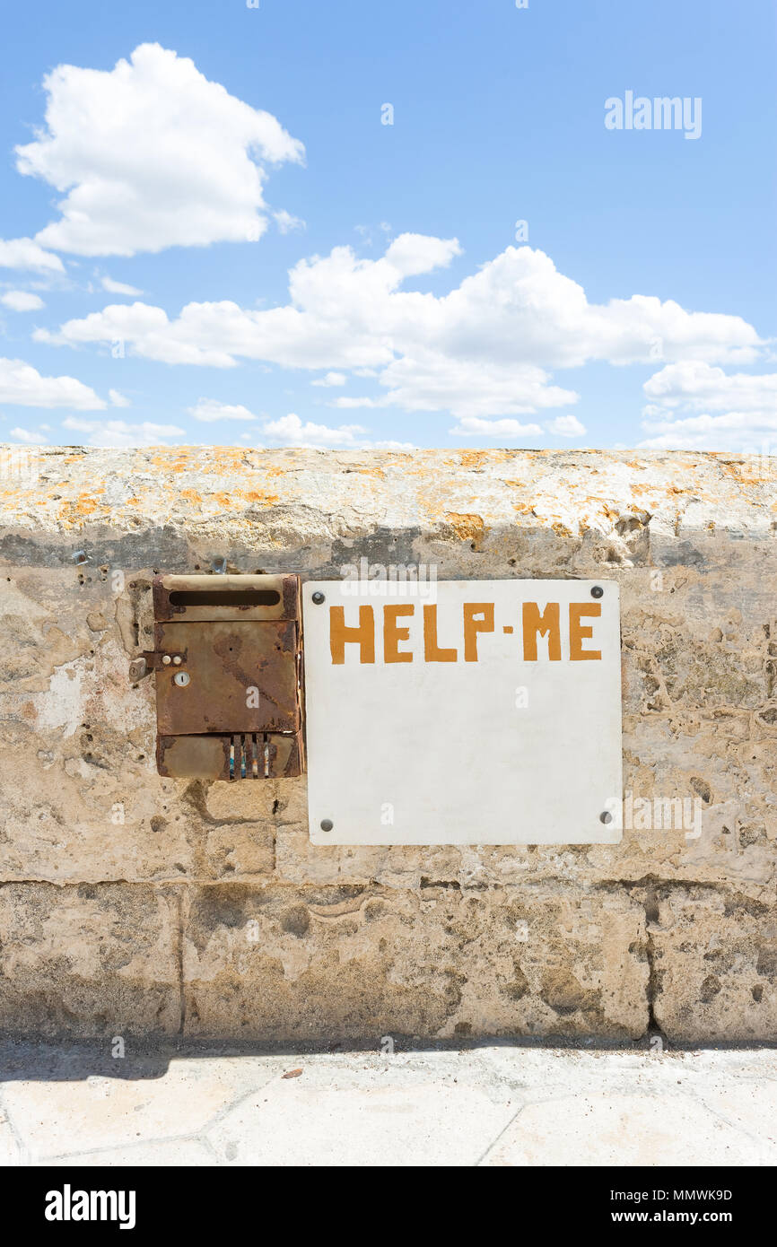 Gallipoli, Apulia, Italy - Seems like everybody forgot about this cry for help Stock Photo