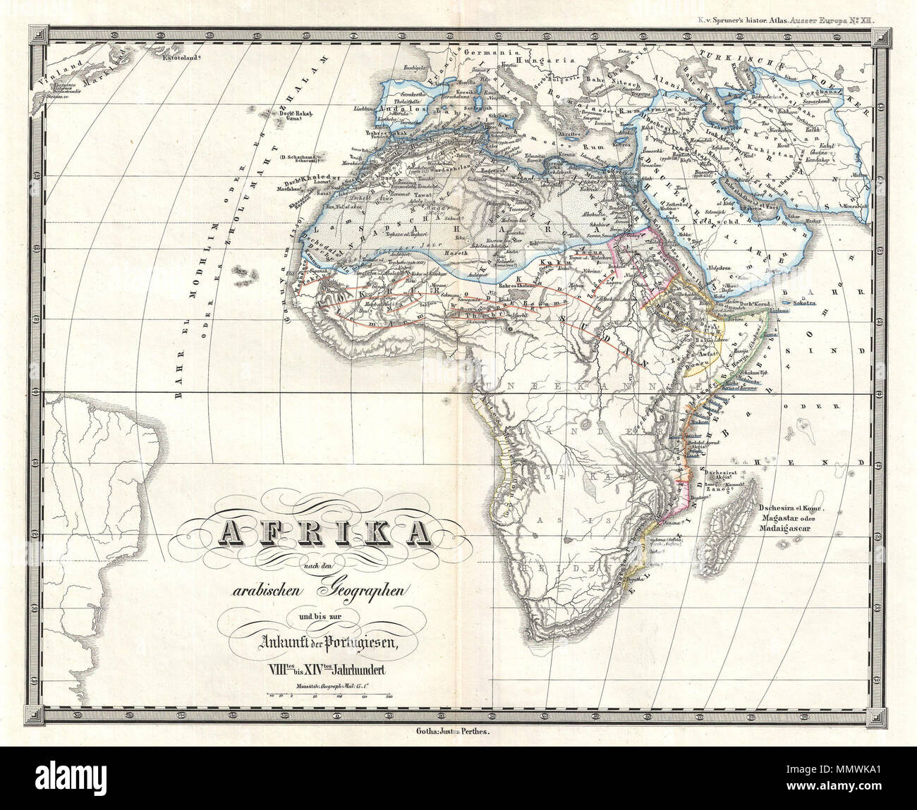 English: This is Karl von Spruner's 1855 map of Africa from the