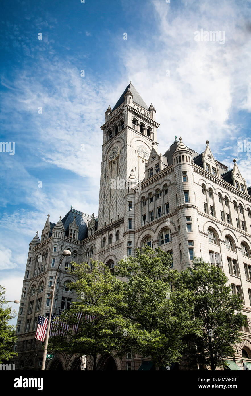 The historical Washington DC post office tower at 1100 Pennsylvania Avenue redeveloped into a luxery Trump International Hotel in 2016. - Stock Image