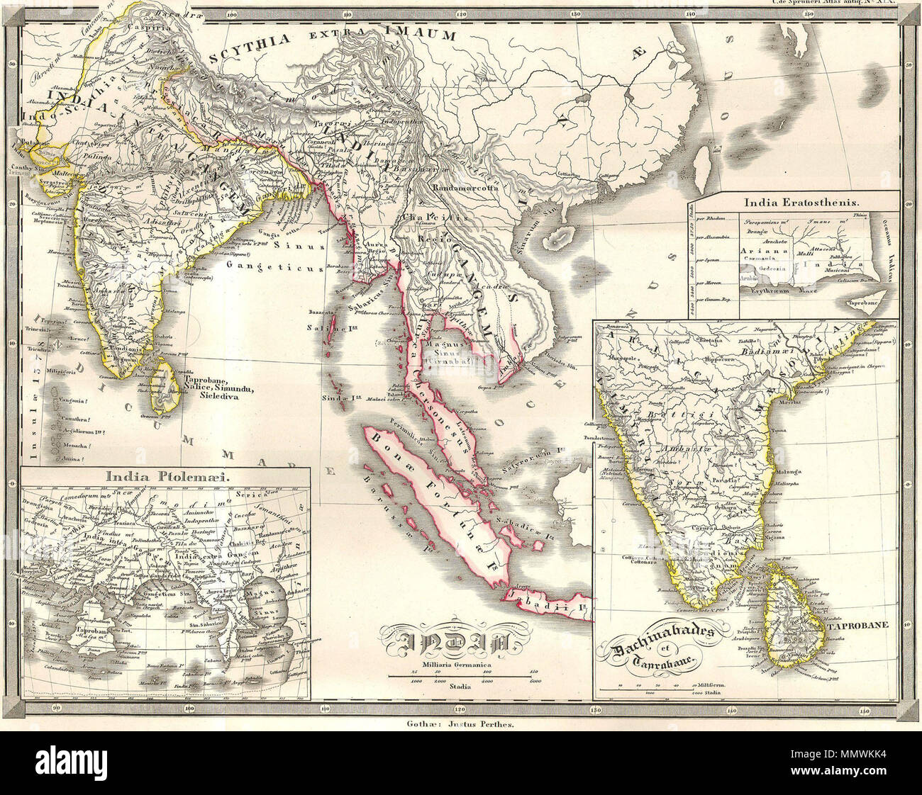 Map Of Asia Over Time.Spruneri Map Of India And Southeast Asia In Ancient Times Stock