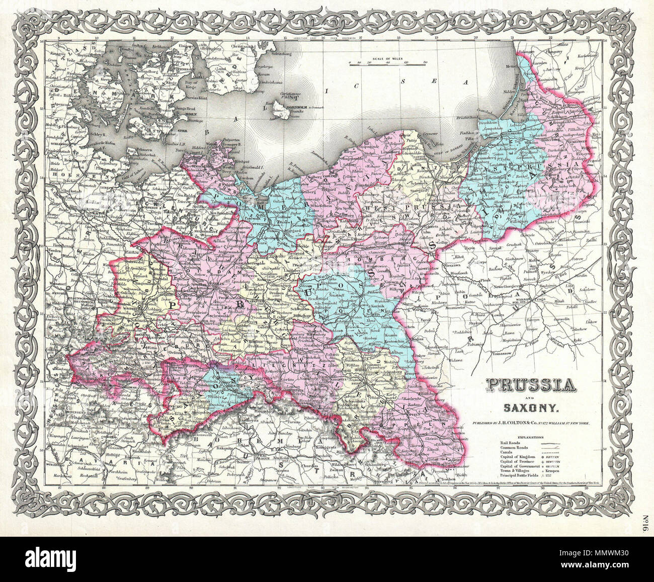 Map Of Germany Today.English This Is The Very Rare 1856 Issue Of J H Colton S Map Of