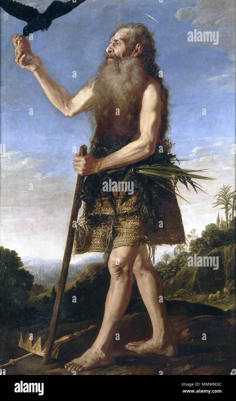 .  Español: La obra representa al eremita cristiano San Onofre.  Saint Onuphrius. circa 1645. Collantes, Francisco - St Onuphrius - 17th c - Stock Image
