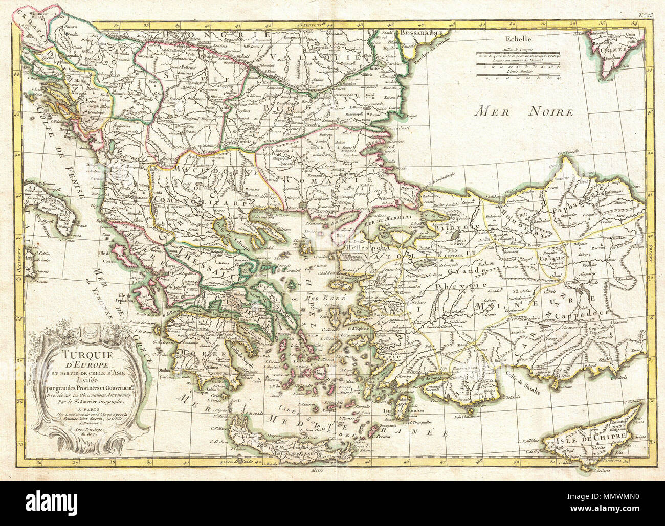 Map Of Italy Greece And Turkey.English A Beautiful Example Of Janvier S 1771 Decorative Map Of