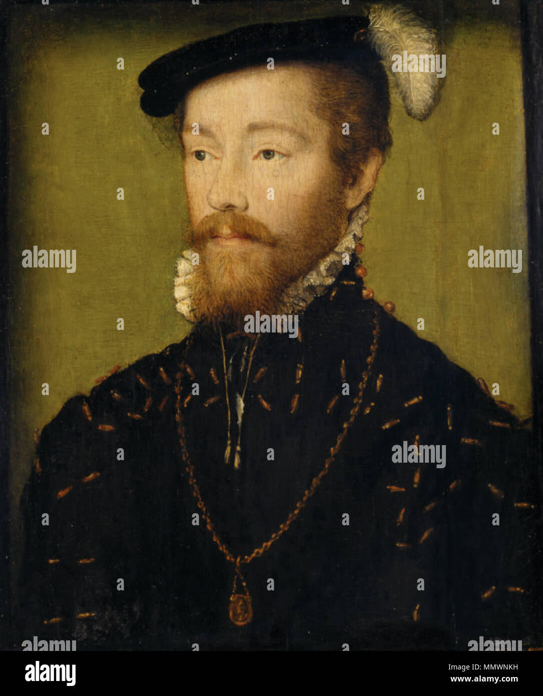 Oil painting on panel, King James V, King of Scotland (1512? 1542), aged 25 by Corneille de Lyon (The Hague 1500/10 ? Lyons 1575), reputedly, before cradling inscribed on the back: Le Roi, age 25, circa 1537. A head-and-shoulders portrait of a bearded young man, turned slightly to the left, gazing to the left, wearing a black doublet decorated with gold aglets, and a gold chain and pendant medallion, the Order of St Michel, he has a black hat adorned with a white feather against a green background. Corneille de Lyon - King James V of Scotland - Polesden Lacey Stock Photo
