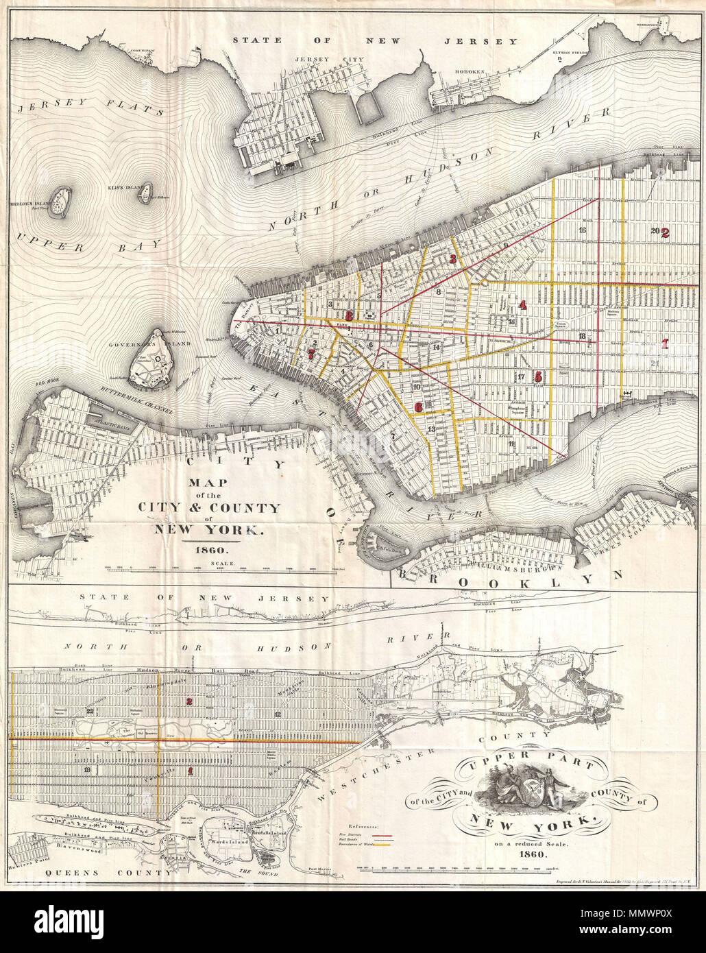 Nyc Map It.English An Attractive Map Of New York City Issued In 1860 For