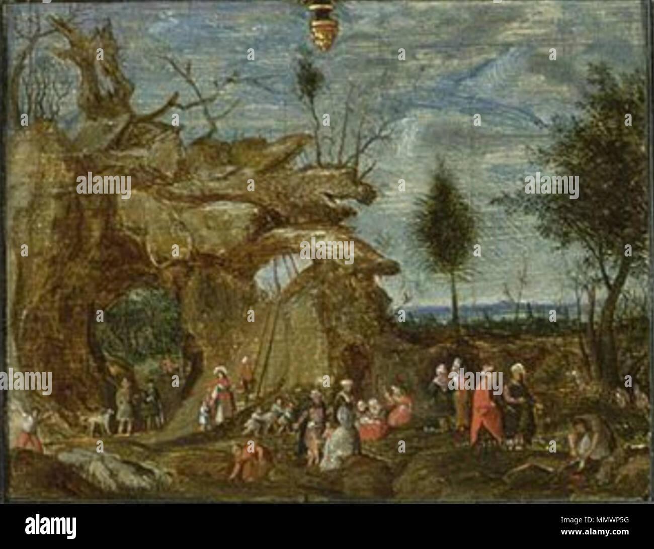 English: Rocky landscape with nomads   1628  Cornelis van