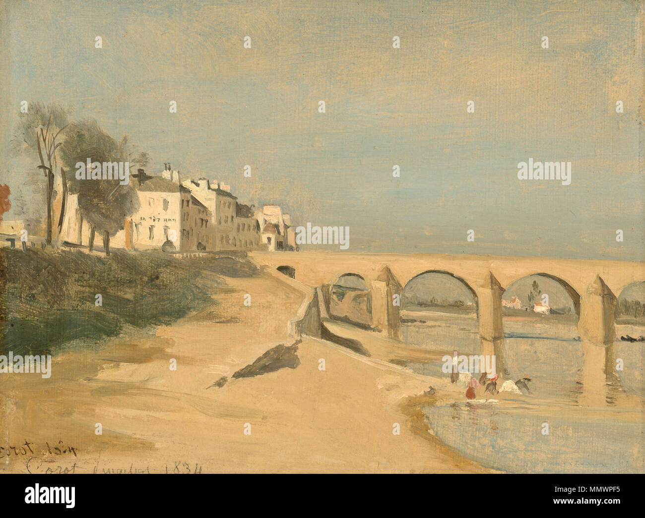Bridge on the Saône River at Mâcon Painting; oil on paper on canvas; overall: 25 x 33.6 cm (9 13/16 x 13 1/4 in.) framed: 48.6 x 56.5 x 6.4 cm (19 1/8 x 22 1/4 x 2 1/2 in.); Bridge on the Saône River at Mâcon by Jean-Baptiste-Camille Corot, 1834 - Stock Image