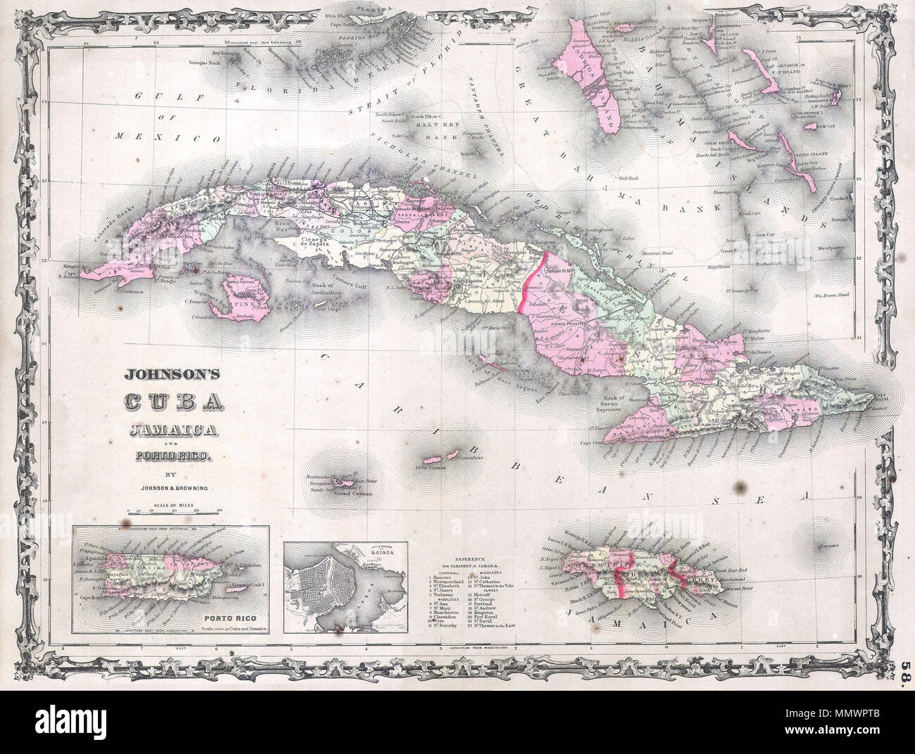 Map Of Florida Cuba And Puerto Rico.English This Is A Beautifully Hand Colored 1861 Map Of The West
