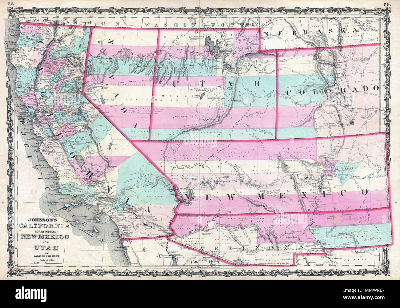 Southwest State Map.English 1862 Johnson Map Of California Nevada Utah Colorado New
