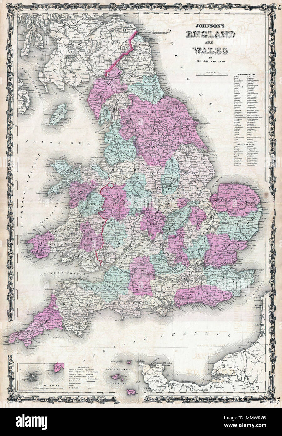 Map Of England With Counties And Major Cities.English This Is A J Johnson And Ward S 1862 Map Of England And