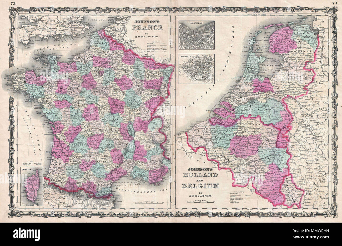Map Of France In English.English This Is A J Johnson And Ward S 1862 Map Of France