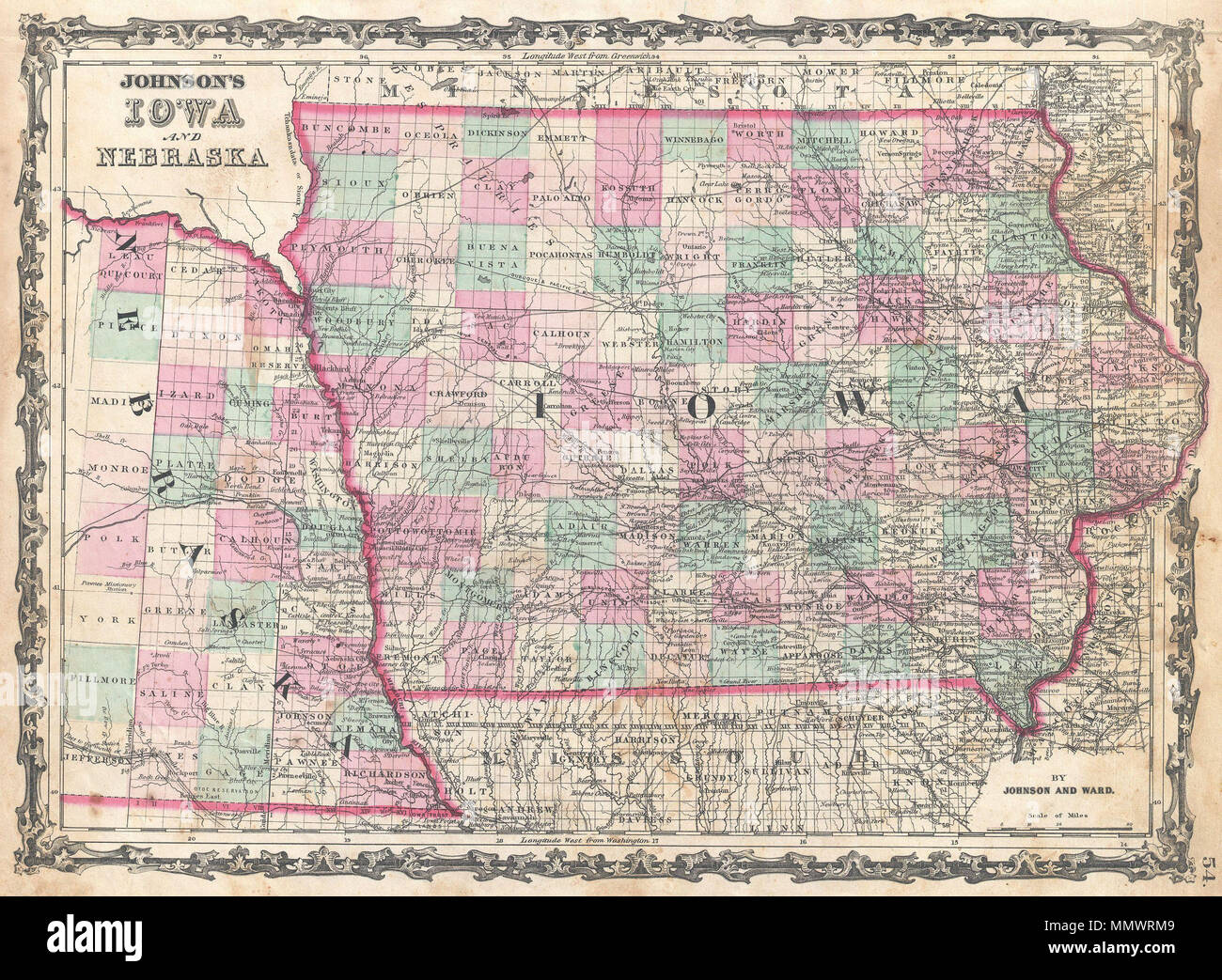 english: this is a. j. johnson's 1862 iowamap of iowa and