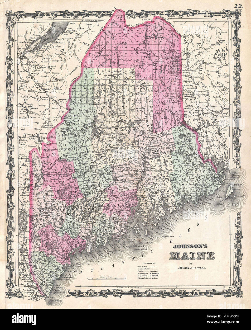 English: A beautiful example of A. J. Johnson\'s 1862 map of Maine ...