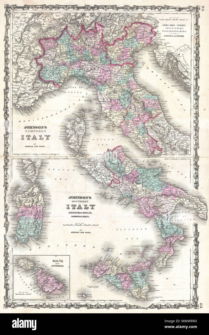 Map Of Italy In English.English A Very Attractive Example Of Johnson S 1862 Map Of Italy