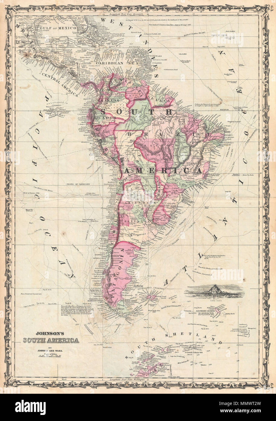 English: A beautiful example of A. J. Johnson\'s 1862 map of South ...