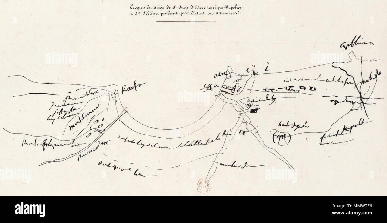 Croquis du Siège de Saint Jean d'Acre tracé par Napoléon à S.te Helène pendant qu'il dictait ses mémoires. cènes historiques 1789-1799 - Stock Image