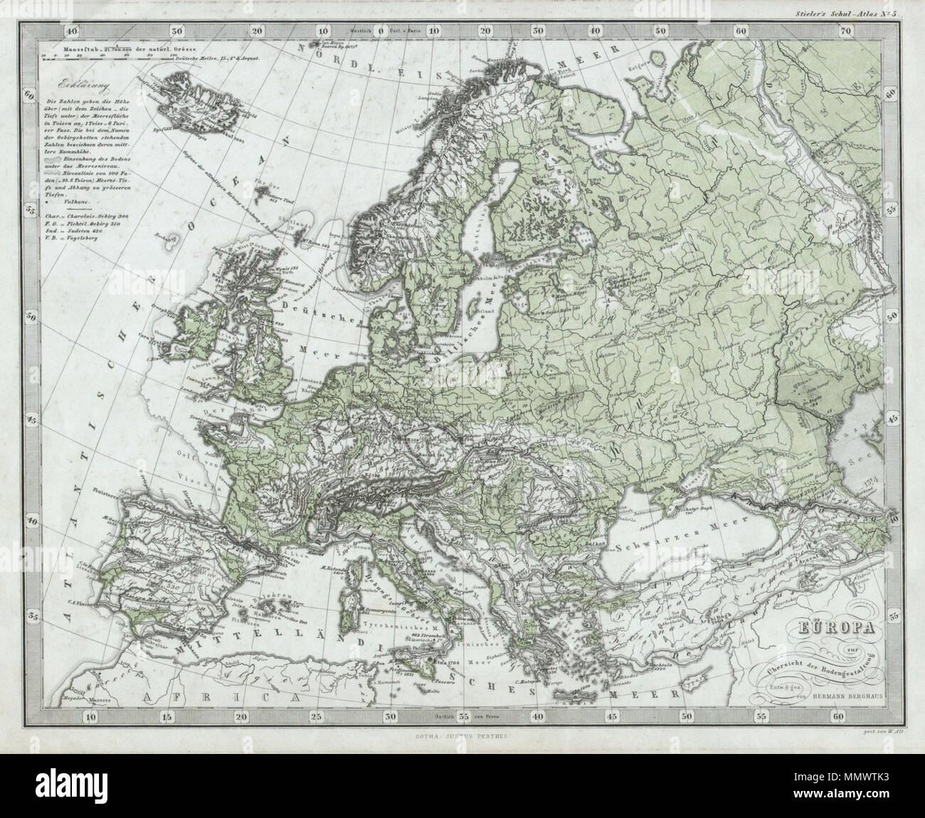 Image of: English This Fascinating 1862 Map By Justus Perthes And Stieler Depicts Europe S Physical Geography Although Major Cities Are Labeled Political Distinctions Are Not Unlike Other Cartographic Publishers Of The Period The