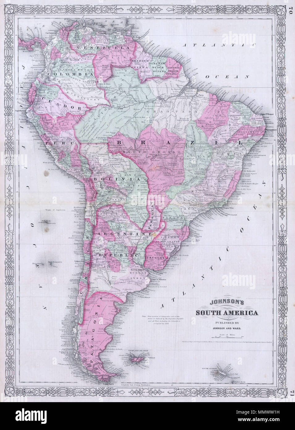 English This Is A Magnificent 1863 Hand Colored Map Of South