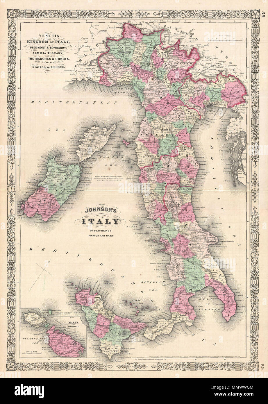 Map Of Italy English.English A J Johnson S Beautifully Hand Colored 1864 Map Of Italy