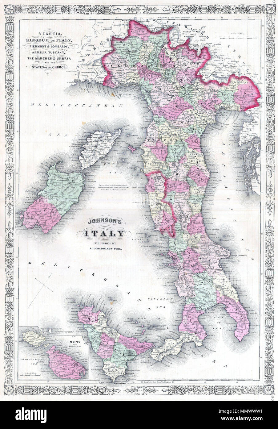 City Map Of Italy In English.English A Marvelous 1864 Map Of Italy By The American Cartographic