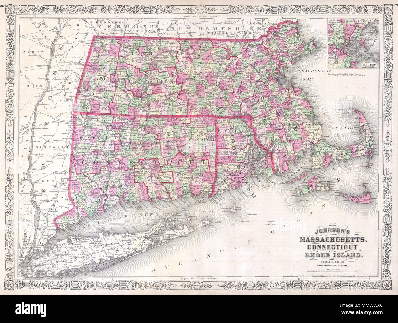 Map Of New York District Courts.English This Is A Beautifully Hand Colored 1864 Lithograph Map Of
