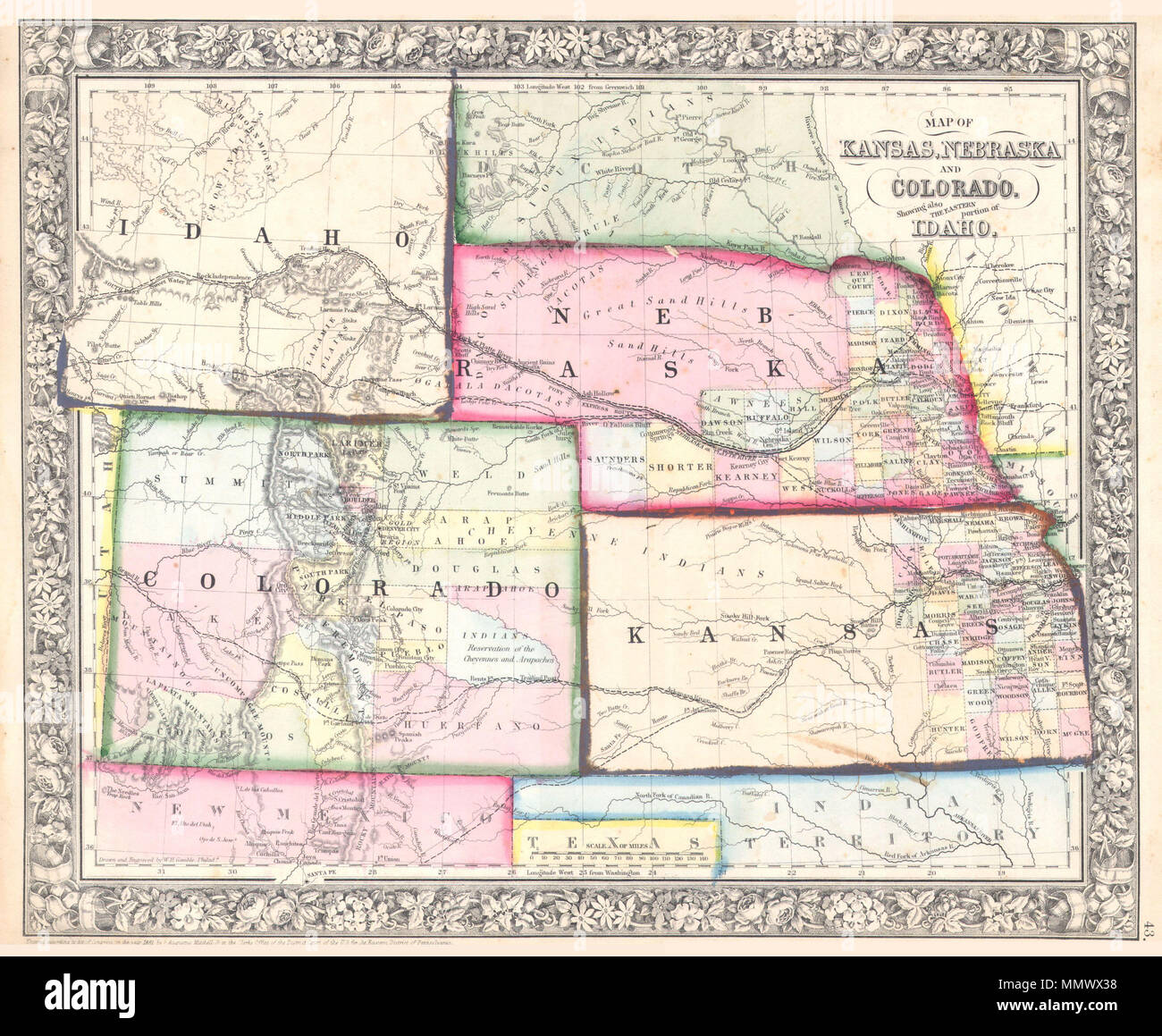 English: A beautiful example of S. A. Mitc Jr.'s 1864 ... on road map of kansas, antique map of kansas, large map of kansas, physical map of kansas, radon map of kansas, blank map of kansas,