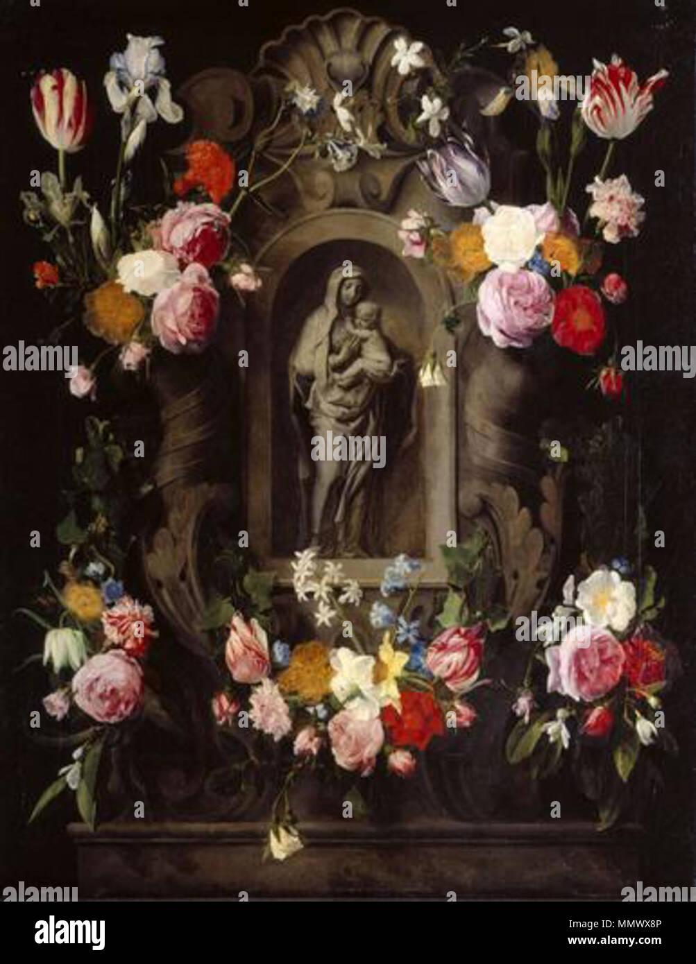 German: Marienstatuette von Blumen umrahmt. circa 1645. Daniel ...