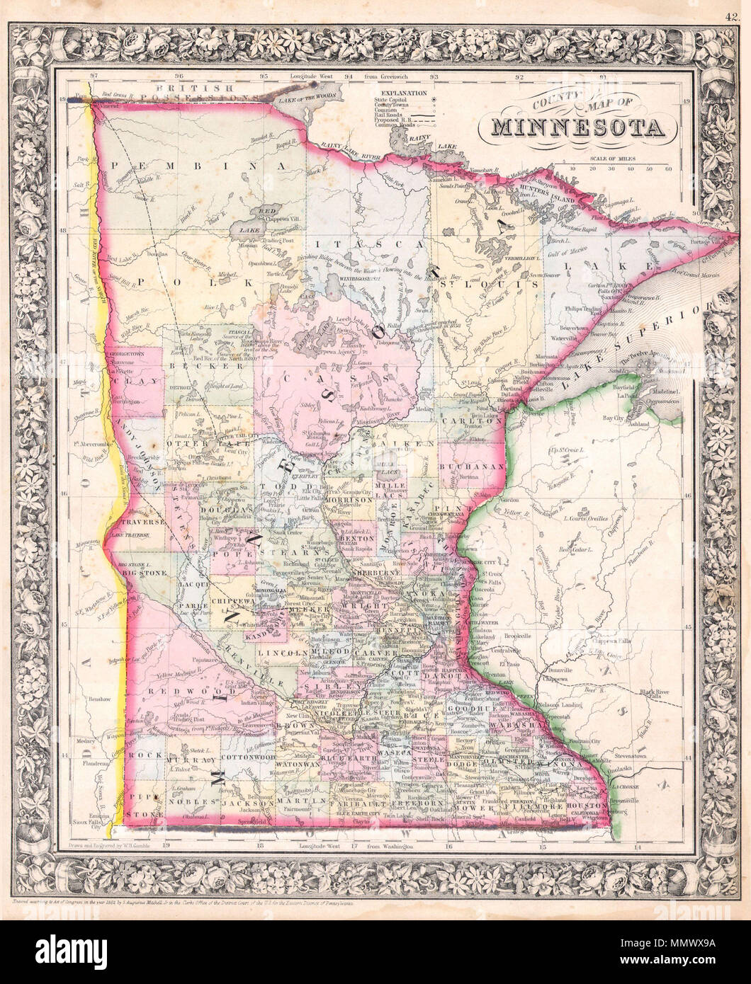 English: A beautiful example of S. A. Mitc Jr.'s 1864 map of ... on mn region map, mn forest map, mn tribal map, mn town map,