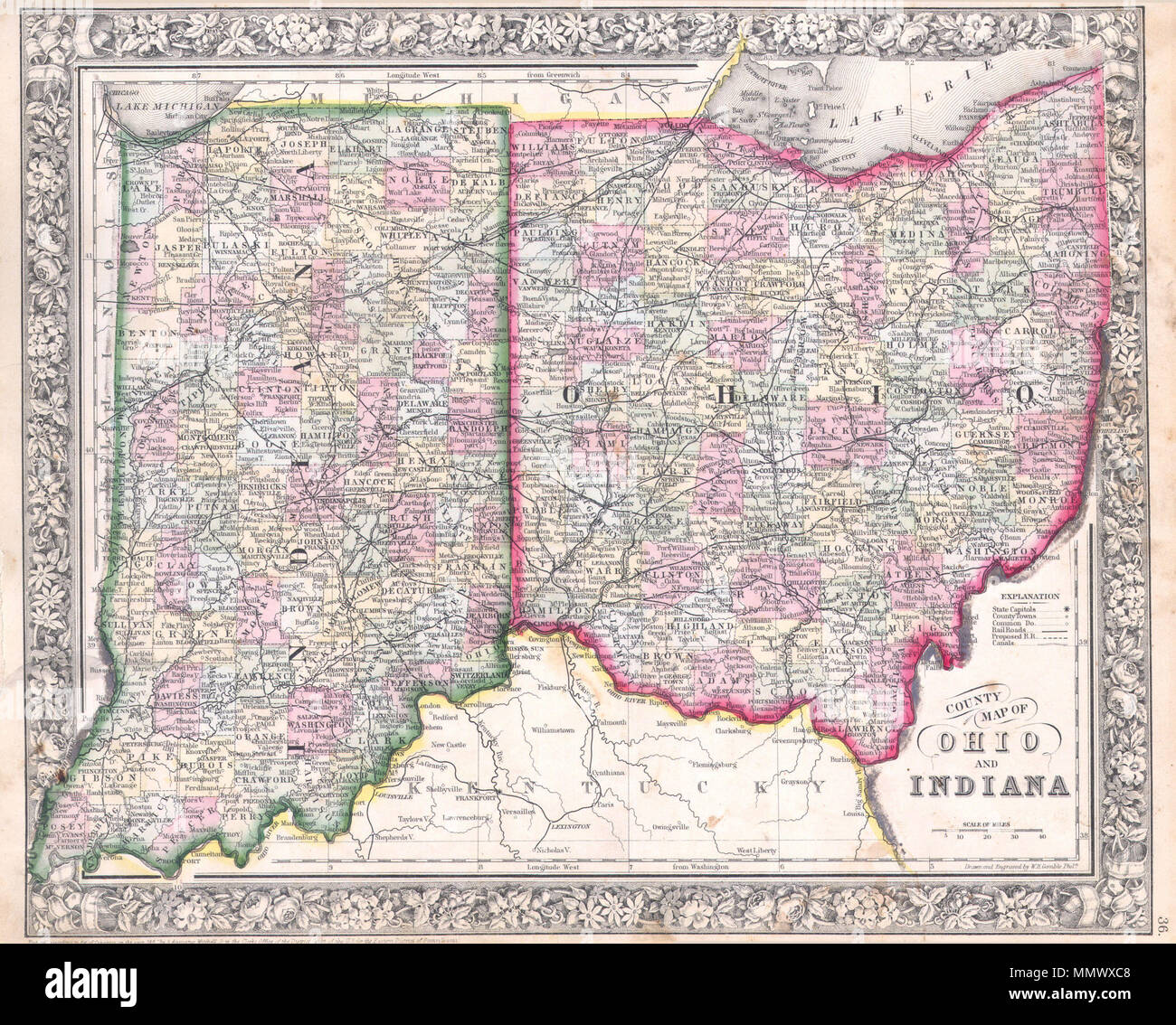 English: A beautiful example of S. A. Mitc Jr.'s 1864 ... on google map of ohio, cleveland ohio, map of southern ohio, highway map of ohio, london ohio, canton ohio, logan ohio, map of state of ohio, youngstown ohio, the plains ohio, county map of ohio, counties of ohio, large maps of ohio, map of north east ohio, piketon ohio, simple map of ohio, all cities in ohio, beaver creek ohio, towns of ohio, agricultural map of ohio,