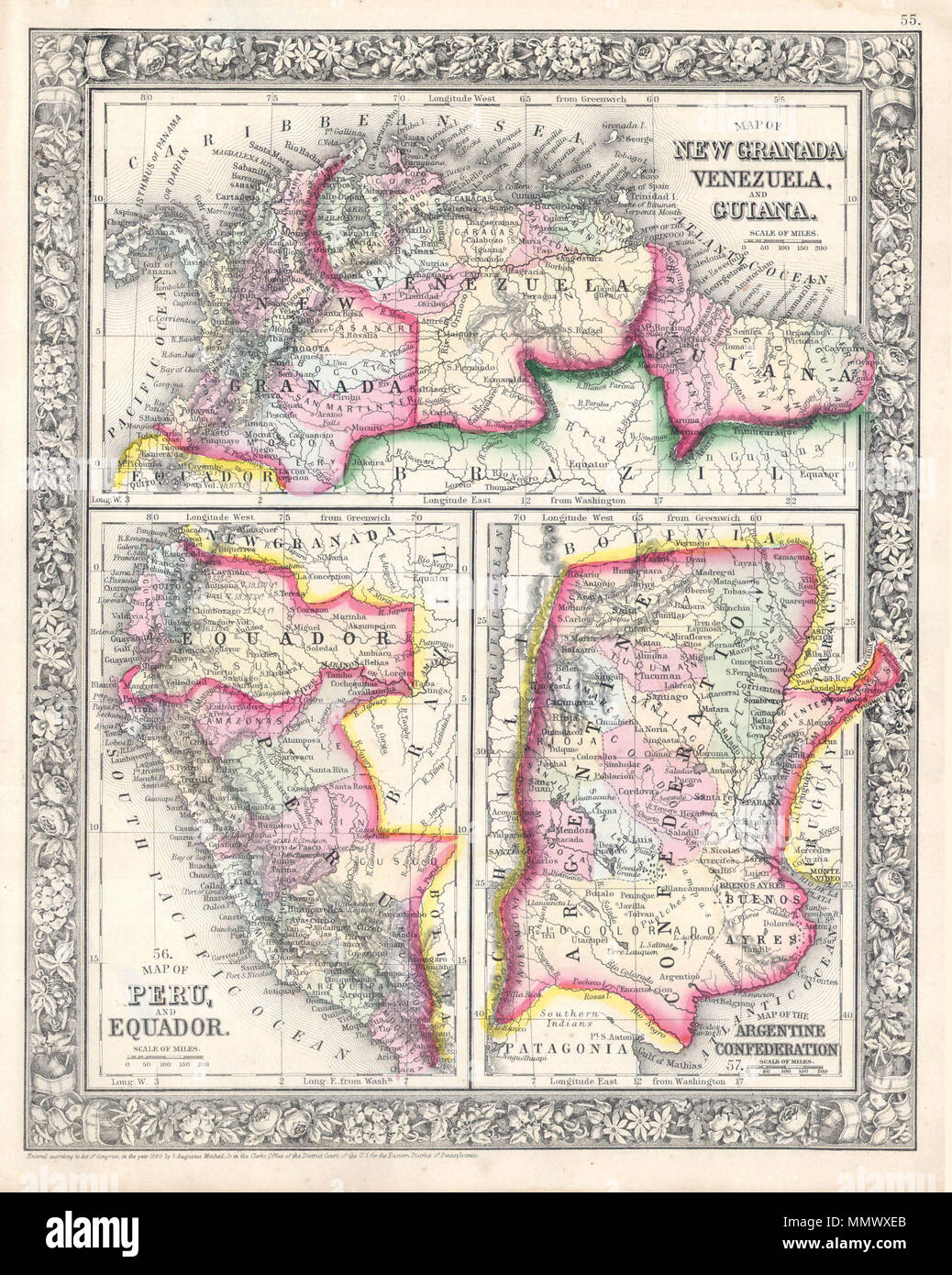 .  English: A beautiful example of S. A. Mitchell Jr.'s 1864 three map sheet depicting parts of South America. The first map shows New Granada (Columbia), Venezuela and Guiana. The second map, in the lower left quadrant, depicts Peru and Equador (Ecuador). The third map, in the lower right quadrant, features the Argentine Confederation. One of the most attractive American atlas maps of this region to appear in the mid 19th century. Features the floral border typical of Mitchell maps from the 1860-65 period. Prepared by S. A. Mitchell for inclusion as plate no. 55 in the 1864 issue of Mitchell' Stock Photo