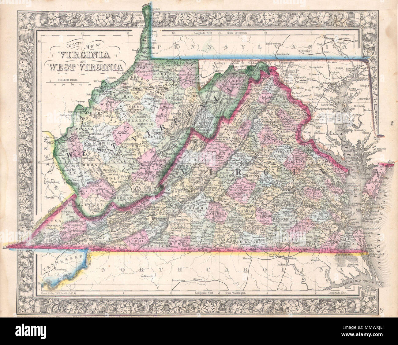 Harpers Ferry Virginia Map.English A Beautiful Example Of S A Mitchell Jr S 1864 Map Of