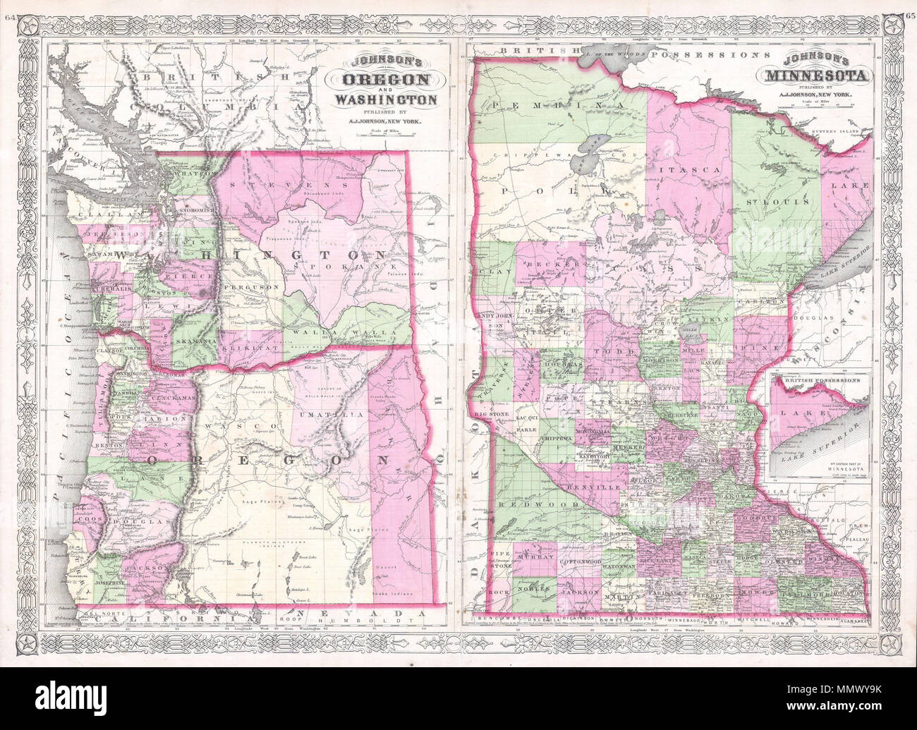 Map Of New York District Courts.English This Is A Magnificent 1865 Hand Colored Map Of Washington