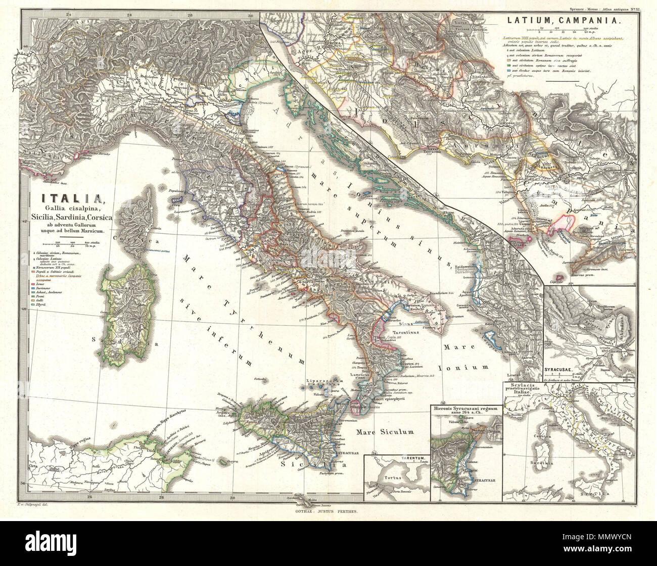 English This Is Karl Von Spruner S 1865 Map Of Italy Cisalpine