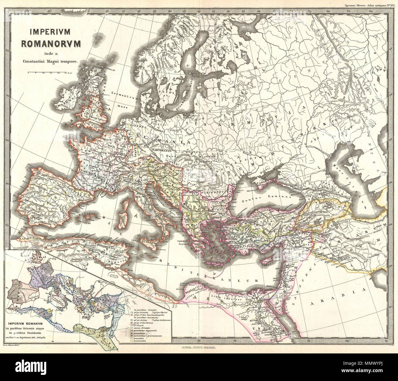 English: This is Karl von Spruner\'s 1865 map of the Roman Empire ...