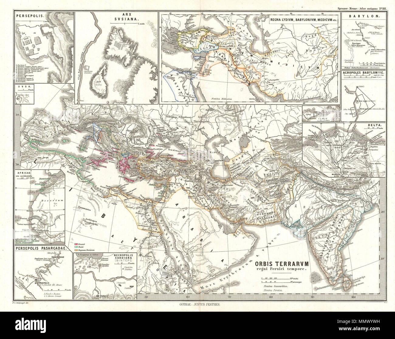 English This Is Karl Von Spruner S 1865 Map Of The World At The Time Of The Persian Empire With Eleven Insets The Insets Starting Clockwise From The Upper Left Quadrant Feature Persepolis