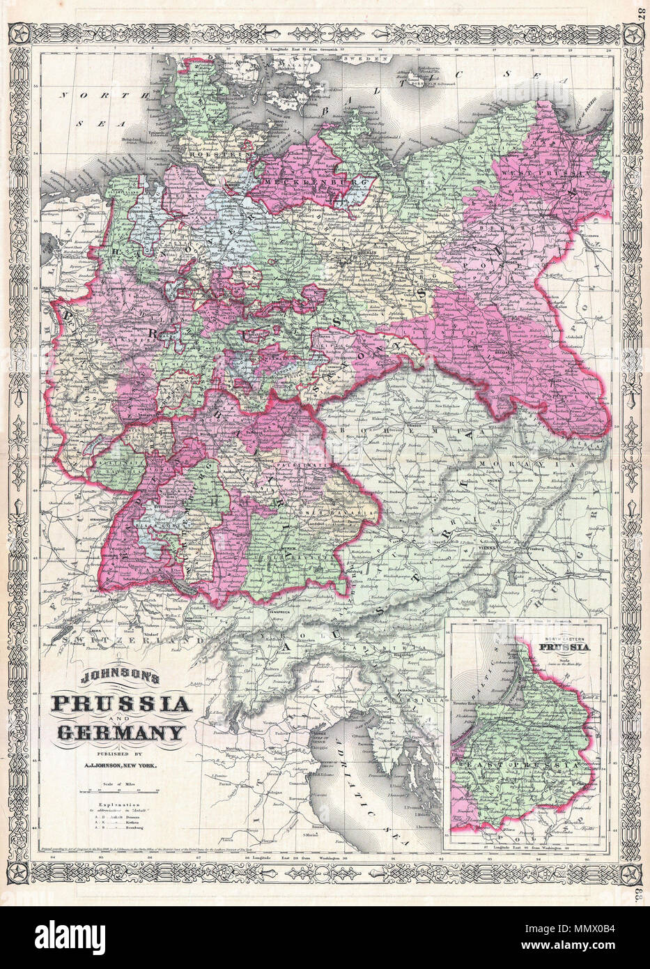 Map Of Germany To Color.English This Is A J Johnson And Ward S 1866 Map Of Prussia And