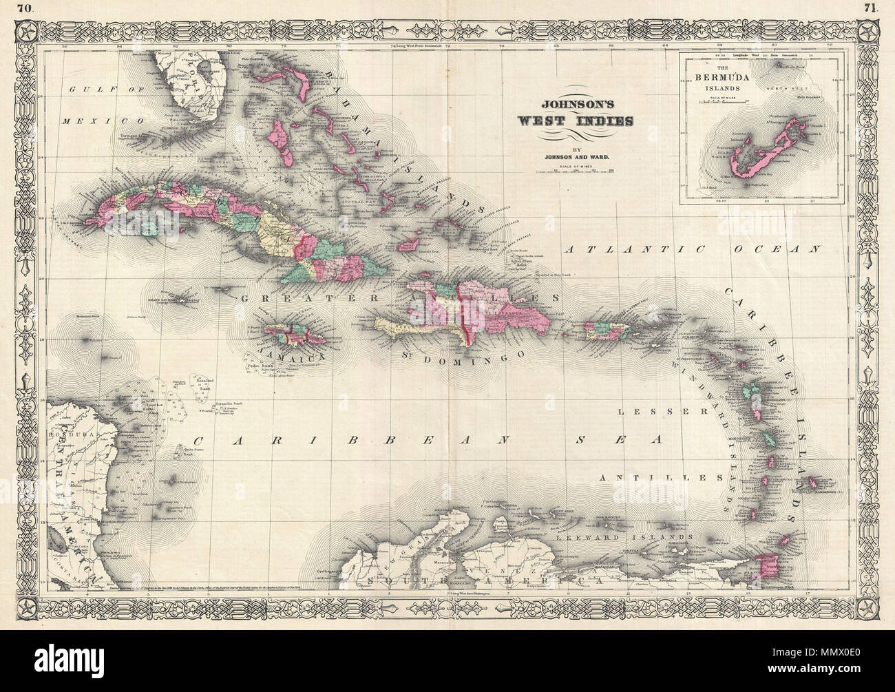 Map Of Islands Off Florida.English A Beautiful Example Of A J Johnson S 1866 Map Of The West