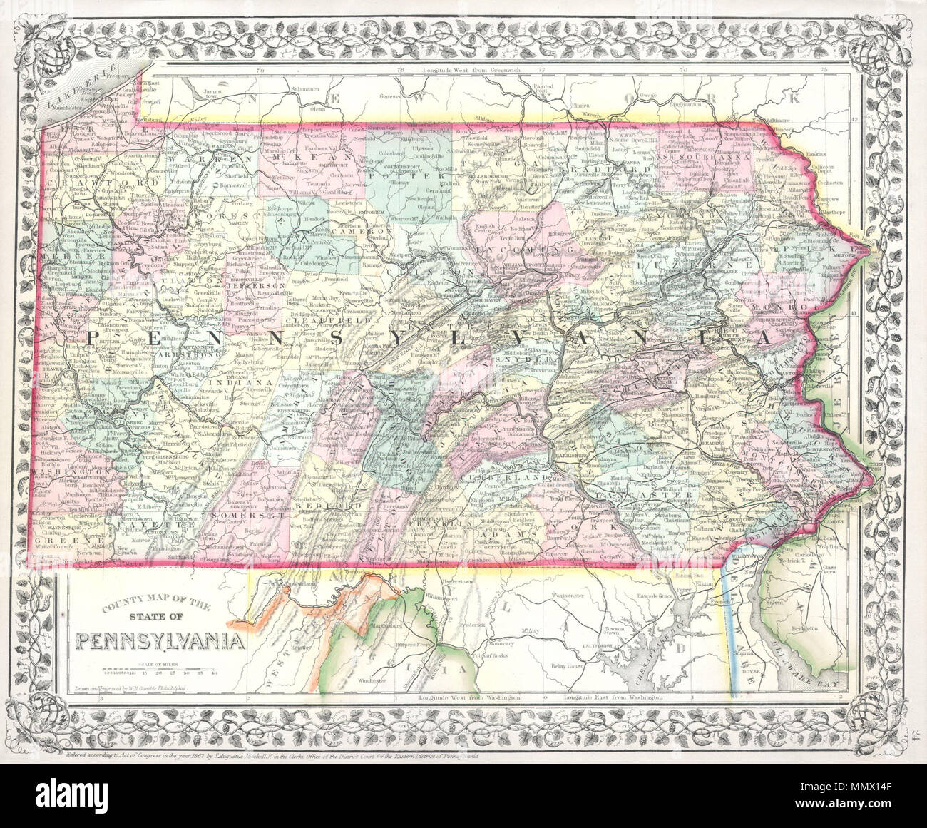 Pa State Map With Counties And Cities.English This Is A Hand Colored Map Of The State Of Pennsylvania By
