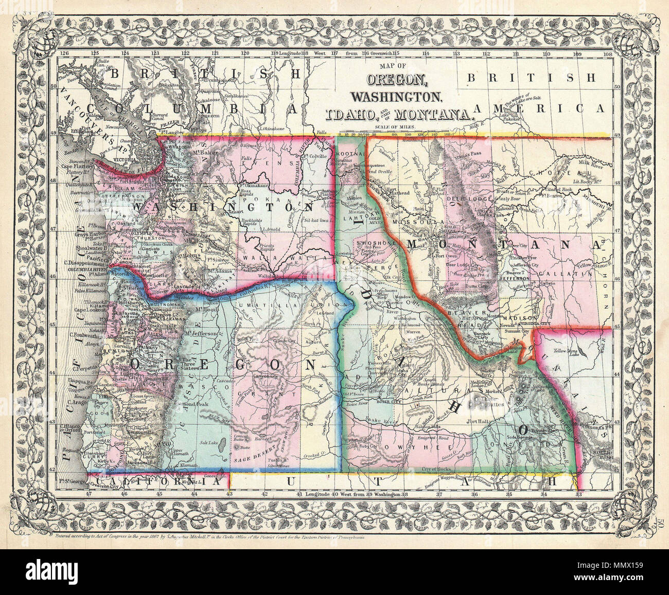 Picture of: English A Beautiful Example Of S A Mitchell Junior S 1867 Map Of Washington Oregon Idaho And Montana Detailed And Color Coded At The County Level With Attention To Towns Geographical Features