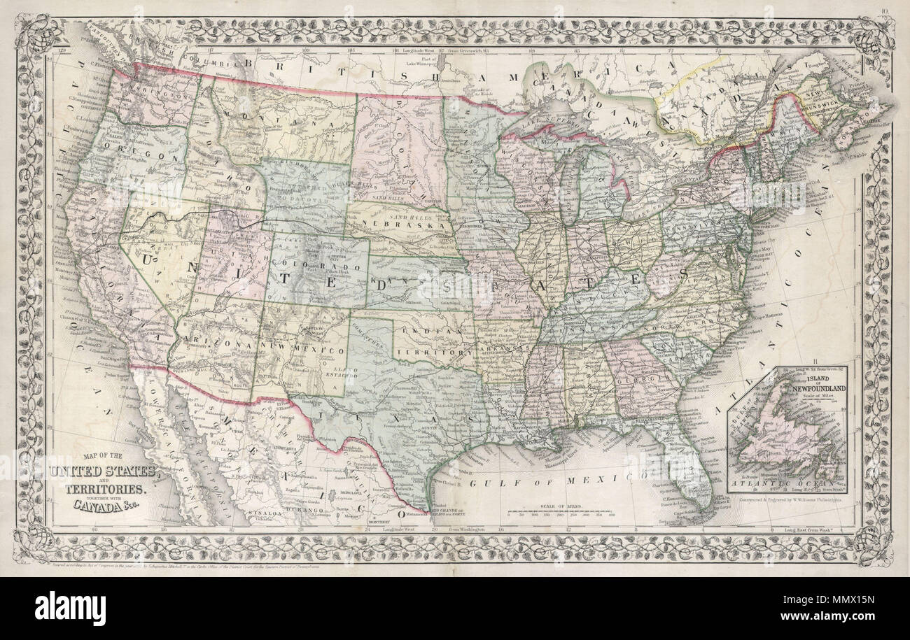 Pony Montana Map.English A Fine Example Of Mitchell S 1867 Map Of The United States