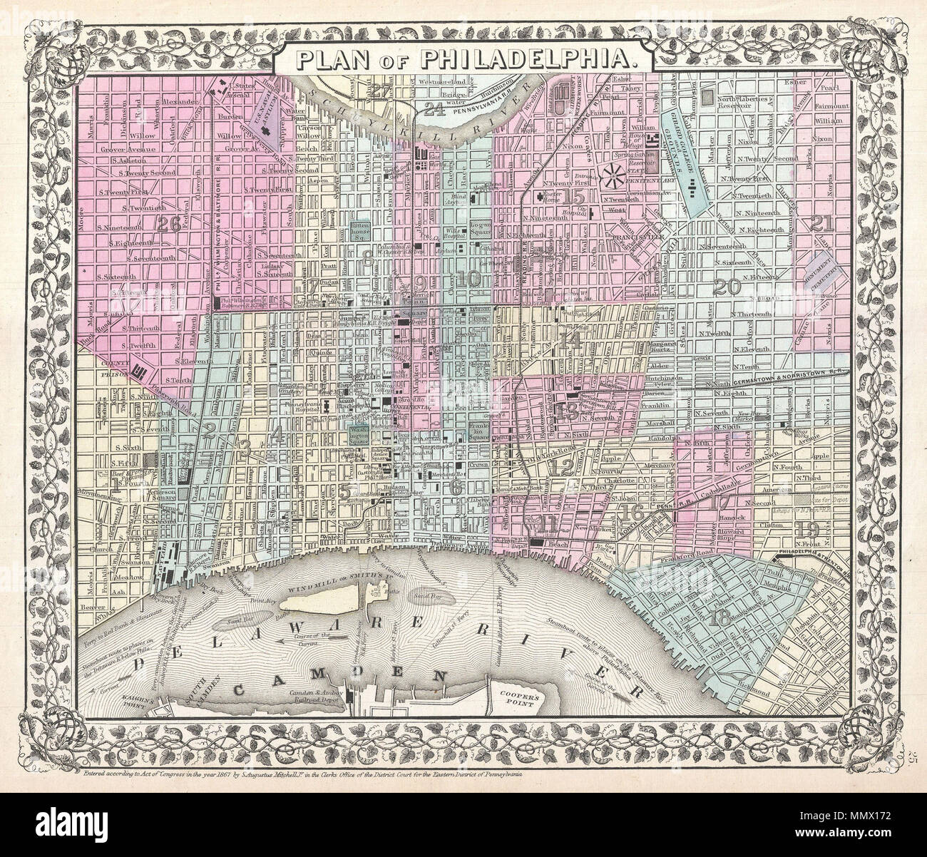 English: A beautiful example of S. A. Mitc Jr.'s 1867 ... on philadelphia subway map, philadelphia rail lines map, 1900 philadelphia map, philadelphia pa map, philadelphia us map, philadelphia street map, bellevue philadelphia map, restaurants philadelphia map, philadelphia hotel map, south philadelphia map, philadelphia county map, historic philadelphia map, philadelphia on the map, penn's landing philadelphia map, philadelphia attractions map, suburb philadelphia map, mexico city and surrounding area map, northeast philadelphia map, city philadelphia map, west philadelphia map,