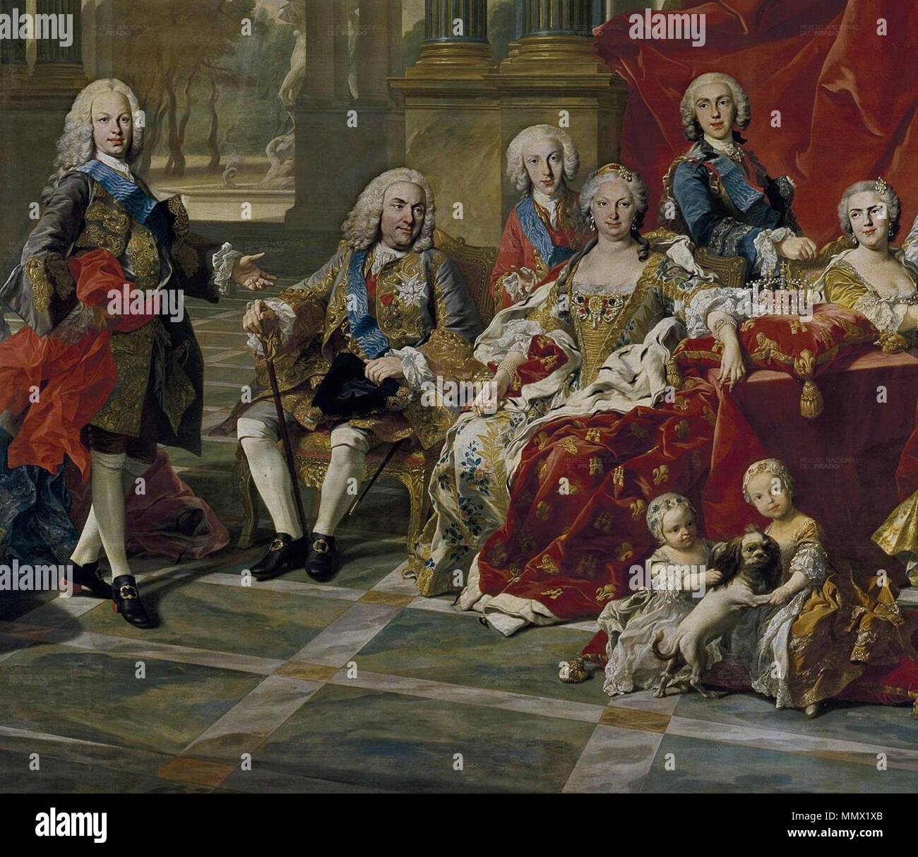 Detail of the 1743 portrait of the Family of Philip V of Spain, (Fernando  Prince ofAsturias, King Felipe, Infante Luis Antonio, Queen Elisabeth, ...