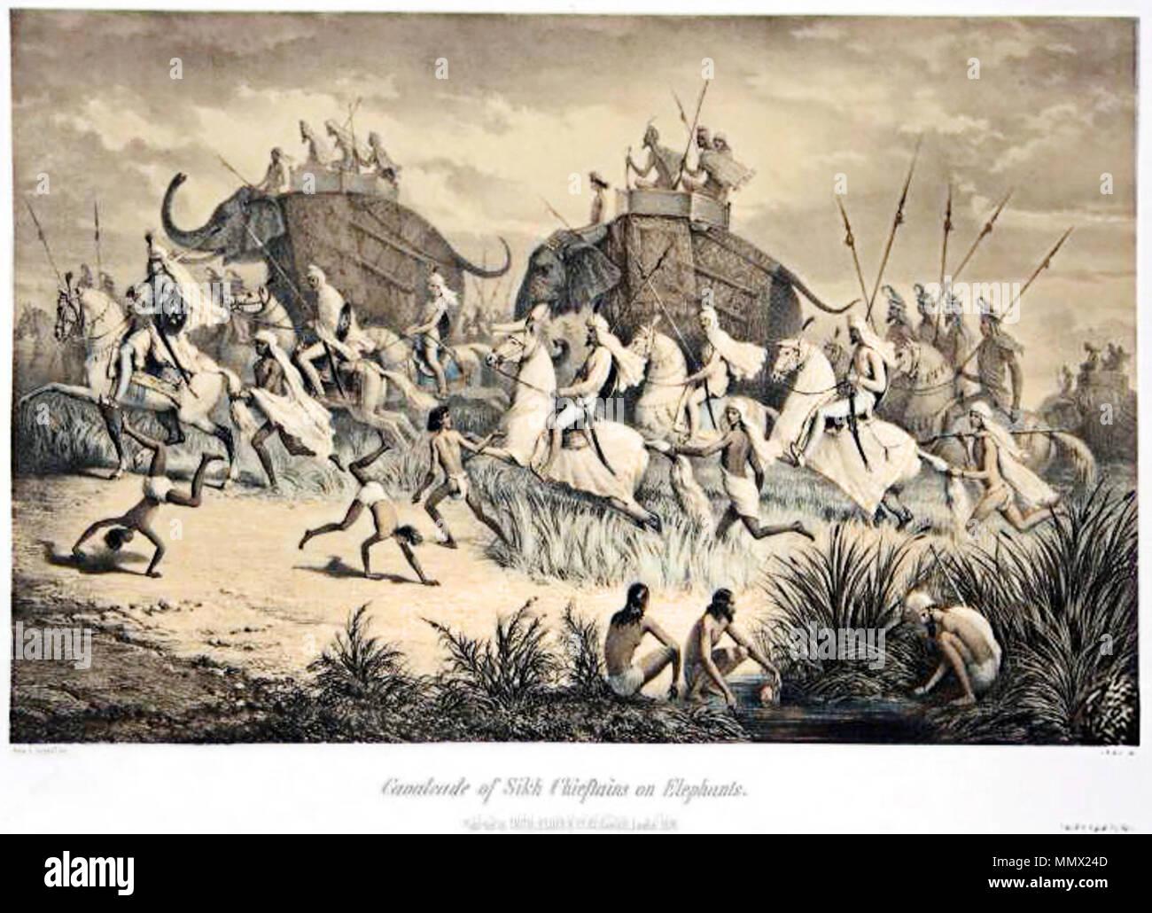 . Deutsch: Dhyan Singh, Premierminister von Ranjit Singh, Maharaja des Punjab mit anderen Sikh Adligen und einer Eskorte von Kavalleristen auf dem Weg zu Sir George Clerk, dem britischen Gesandten English: Dhyan Singh, prime minister of Ranjit Singh, Maharaja of the Punjab, with other Sikh nobles, on their way to meet Sir George Clerk, British envoy, with an escort of cavalrymen  . 1859. Prince Alexis Soltykoff Dhyan Singh (retouched) - Stock Image