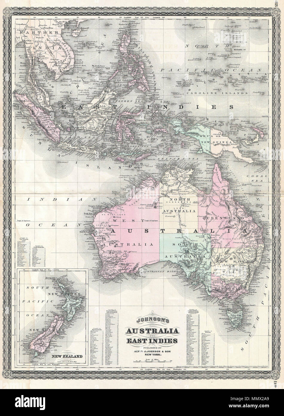 Map Of Southeast Asia Australia And New Zealand.English This Is A J Johnson S 1870 Map Of Australia The East